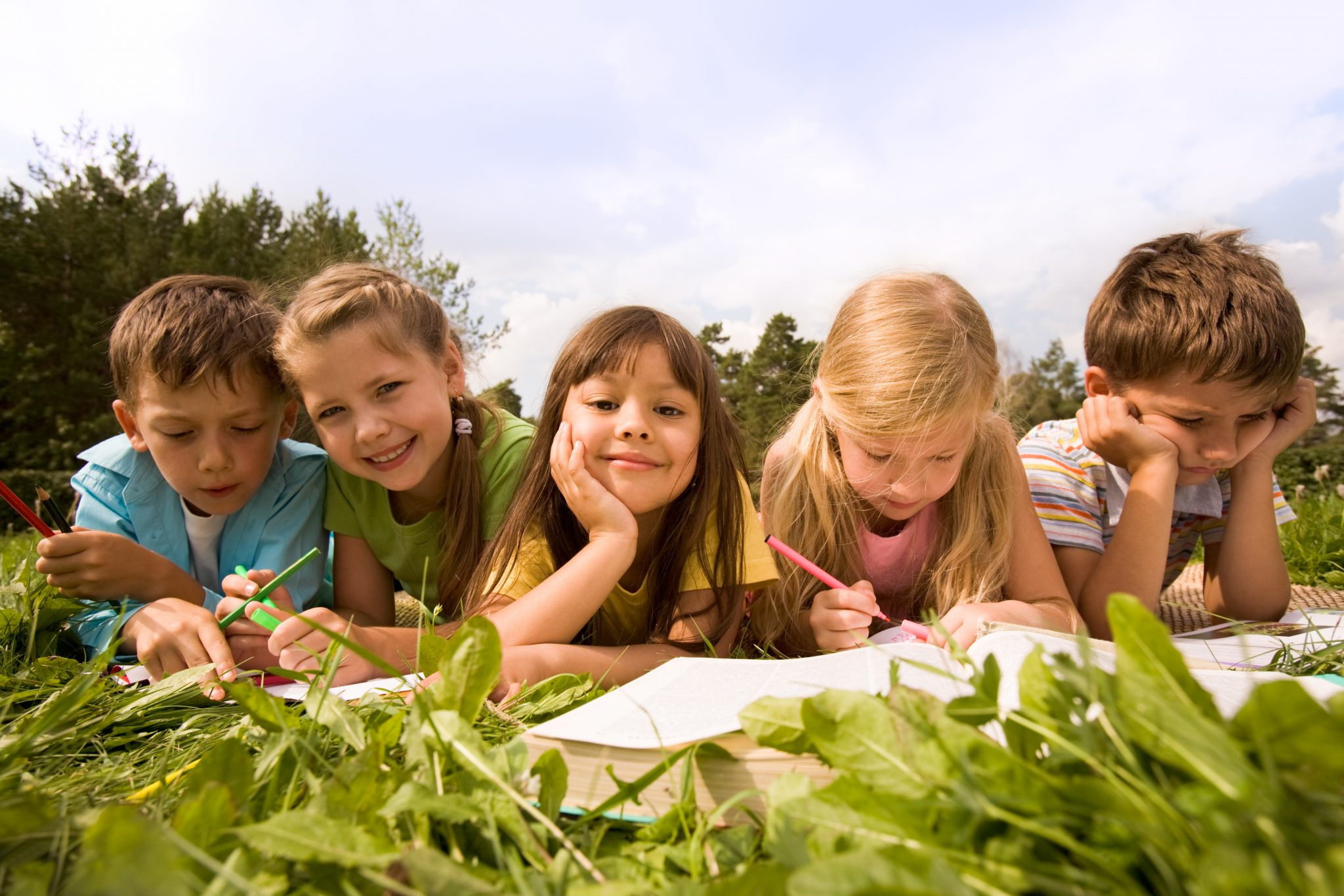 Schoolchildren outside